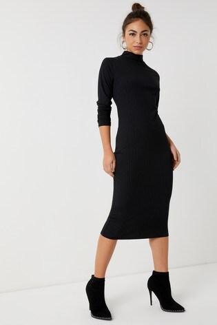1a8ceb3baddb3c Buy Boohoo Ribbed High Neck Midi Dress from the Next UK online shop