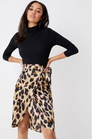 bdfa1bf857 Buy Boohoo Petite Satin Wrap Midi Skirt from Next Ireland
