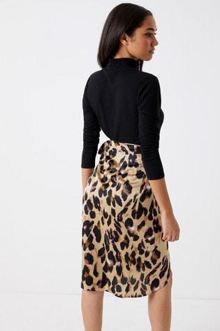 113605b5c9 Buy Boohoo Petite Satin Wrap Midi Skirt from the Next UK online shop