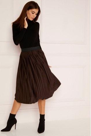 48ac5c8002 Buy Lipsy Petite Chocolate Pleat Skirt from Next Kuwait