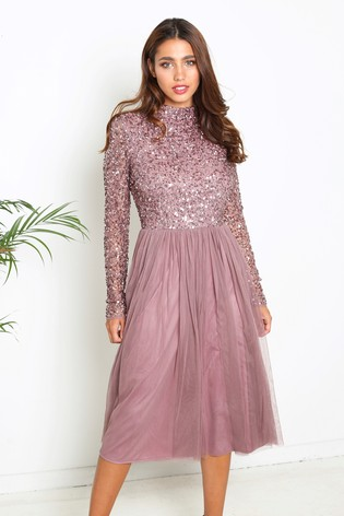Buy Maya Embellished Long Sleeve Midi Dress With Cut Out Back From