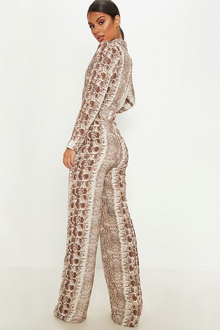 a4c334b75e2 Buy PrettyLittleThing Snake Print Wide Leg Jumpsuit from Next Kuwait