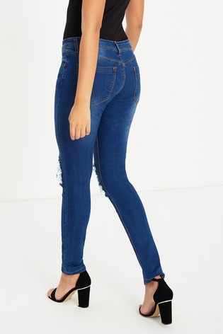 2c7399403d Buy Boohoo Low Rise Distressed Rip Knee Skinny Jeans from the Next ...