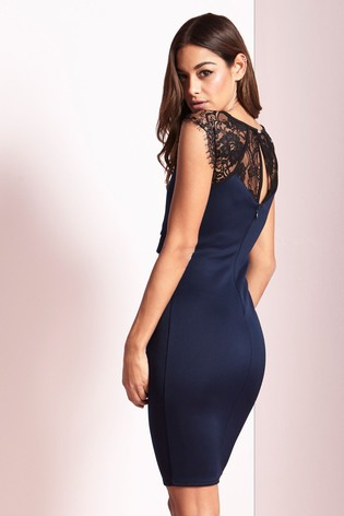 7a89cd21864c Buy Lipsy Eyelash Lace Sweetheart Contrast Bodycon Dress from the ...