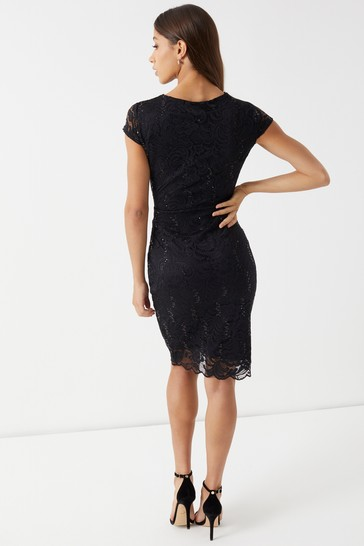 230e2f48c Buy Lipsy Sequin Lace V neck Bodycon Dress from the Next UK online shop