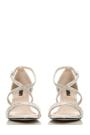 70edf87390b4 Buy Quiz Shimmer Diamante Cross Strap Low Heel Sandals from Next Ireland