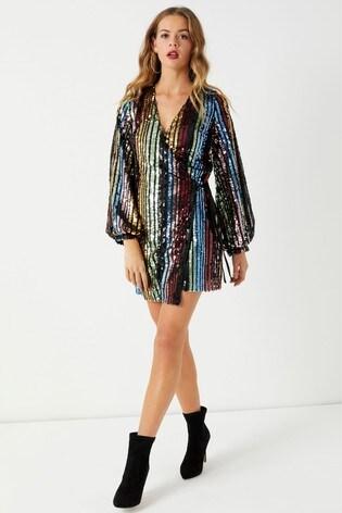 b381711e8022 Buy Boohoo Rainbow Sequin Blouson Sleeve Wrap Dress from Next Ireland
