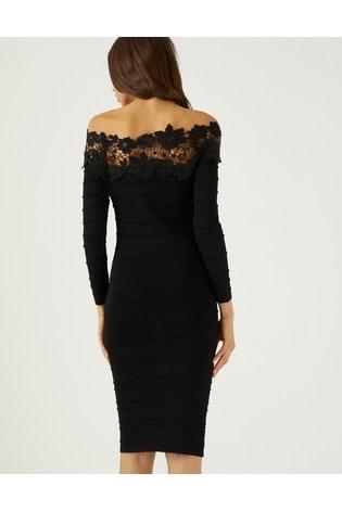 579317424b6c1d Buy Lipsy Off Shoulder Lace Trim Bardot Dress from the Next UK ...