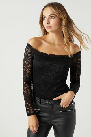9131327fc0eaeb Buy Lipsy All Over Lace Long Sleeve Bardot Body from Next Gibraltar