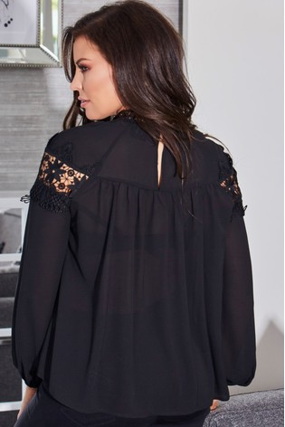 3103d91f476c13 Buy Sistaglam Loves Jessica Lace Trim Placement Long Sleeve Top from Next  Ireland