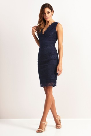 a2828b2ed667 Buy Lipsy Petite V neck All Over Lace Bodycon Dress from Next South ...