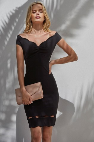 06c69b2f Buy Lipsy Petite Scalloped Ruched Bardot Bodycon Dress from the Next ...