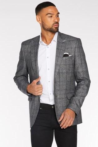 Quizman X Towie Pocket Square Checked Blazer