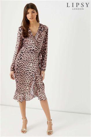 aa01f1ee55ed Buy Lipsy Lulu Leopard Print Satin Wrap Midi Dress from Next Ireland