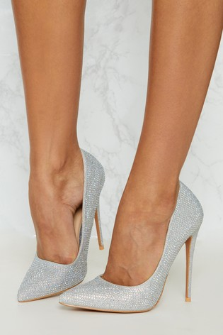 cb93e560a03 PrettyLittleThing Diamanté Court Heels