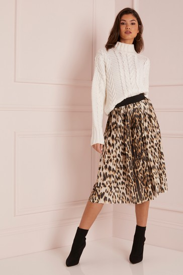 d26a60a08 Buy Lipsy Leopard Print Pleated Midi Skirt from the Next UK online shop