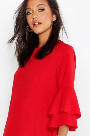 8d963ef6610d Buy Boohoo Ruffle Sleeve Shift Dress from Next Luxembourg