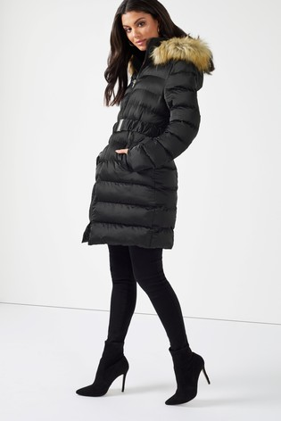 4de4ed5d0ff5 Buy Boohoo Belted Satin Quilted Coat from the Next UK online shop