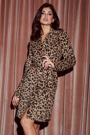 2f5663f6f1d2 Buy Lipsy Leopard Wool Blend Coat from Next Cyprus