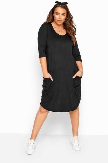 Buy Yours Drape Pocket 3 4 Length Sleeve Midi Dress From The Next Uk