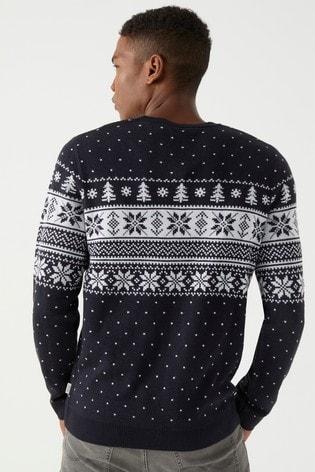 Gebreide Kersttrui.Buy Jack Jones Fairisle Knitted Christmas Jumper From Next Netherlands