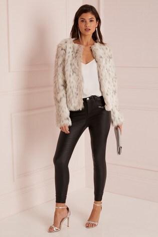 07cb0e58de59 Buy Lipsy Snow Leopard Faux Fur Coat from the Next UK online shop