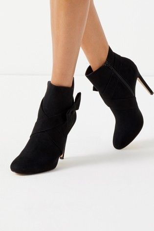 8328a0bbeff Lipsy Stiletto Bow Detail Ankle Boots