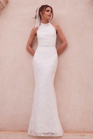 Lipsy Bridal Meghan Sequin Lace High Neck Maxi Dress