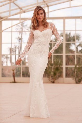 Lipsy Bridal Vanessa Floral Embroidered Lace Maxi Dress