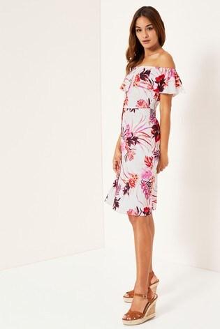68ff44ee2fa930 Buy Lipsy Tiger Lilly Linen Blend Bardot Midi Dress from Next Bahrain