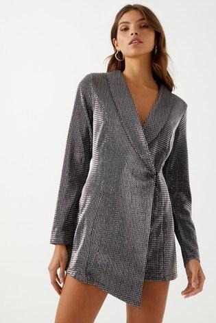 6a8ed6bd46b3 Buy Boohoo Petite Metallic Blazer Dress from Next USA