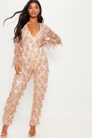 7f5d6c02f5 Buy PrettyLittleThing Tassel Sequin Plunge Jumpsuit from Next Ireland
