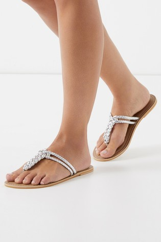 ea1133f9568949 Buy Lipsy Leather Plaited Flat Sandals from Next Slovakia