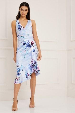 18d8af737dc2 Buy Lipsy VIP Helena Print Wrap Frill Midi Dress from the Next UK ...
