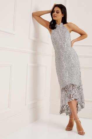fb99707f Buy Lipsy VIP Petite Metallic Lace Halter Flute Hem Dress from the ...