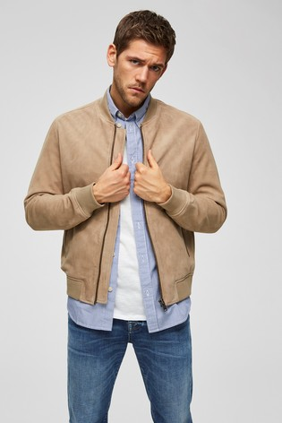 Couleurs variées badba 6e919 Selected Homme Suede Bomber Jacket With Ribbed Cuffs