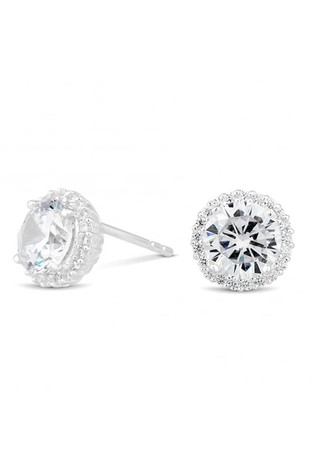 4ee0a3f6d Simply Silver Sterling Silver Cubic Zirconia Pave Surround Stud Earring.  Next