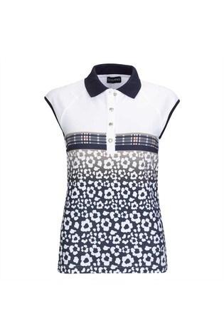 Golfino White Blossom Printed Ladies Polo Shirt
