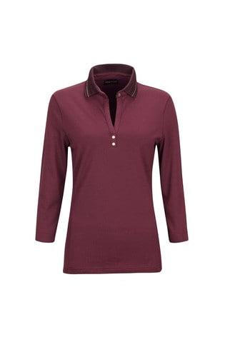 Golfino Red Sun Protection 3/4 Sleeve Ladies Golf Polo Shirt
