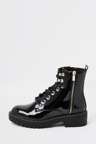 Buy River Island Black Patent Lace-Up