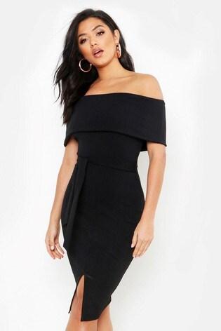 modélisation durable chercher section spéciale Boohoo Off The Shoulder Fold Over Slit Midi Bodycon Dress