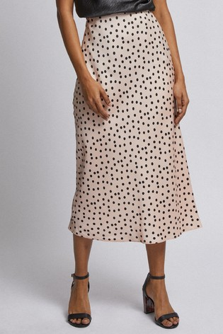 separation shoes fashion style latest releases Dorothy Perkins Petite Spot Print Satin Midi Skirt