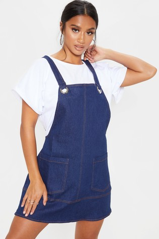 structural disablities get new 2019 clearance sale PrettyLittleThing Petite Mid Wash Denim Pinafore Dress