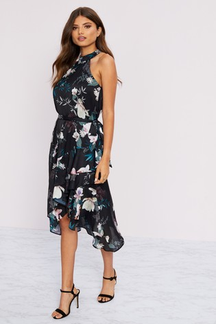 Lipsy Lotus Print Halterneck Dress