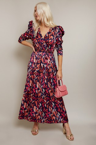 Little Mistress Fletcher Leaf Print Satin Pleated Midi Dress