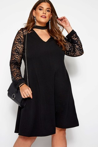 Yours Curve Lace Bellow Sleeve Choker Dress