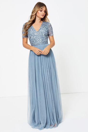 New Lipsy Black Built Up Sequin Maxi Dress Sz UK 8 /& 10 rrp £85