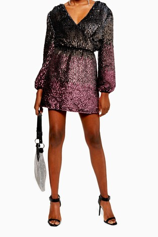 low cost lowest price premium selection Buy Topshop Ombre Sequin Wrap Dress from the Next UK online shop