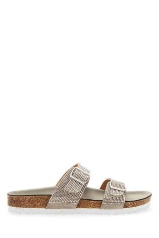 Extra Wide Fit Diamanté Buckle Sandals