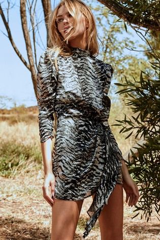 Printed High Neck Drape Dress by Lipsy, available on next.co.uk for EUR58 Abbey Clancy Dress Exact Product